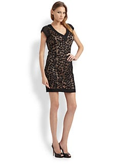 Sue Wong - Embroided Cap Sleeve Sheath Dress
