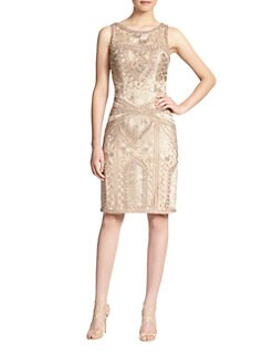 Sue Wong - Embroidered Sheath Dress