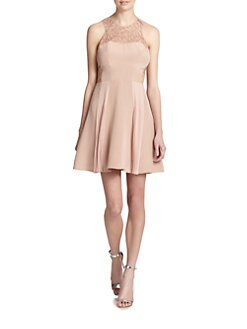 Rebecca Taylor - Pleated Lace-Insert Dress