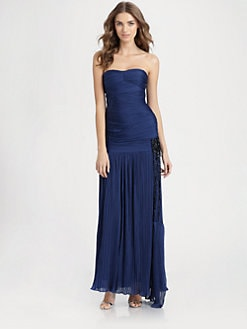 Halston Heritage - Strapless Beaded Gown