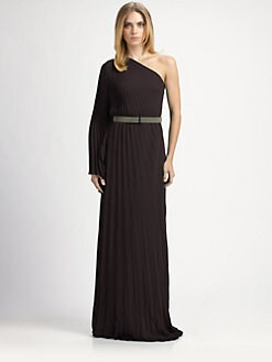 Halston Heritage - Asymmetrical Pleated Gown