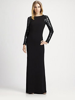 Halston Heritage - Sequined Sleeve Gown