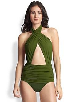 Norma Kamali - Crisscross Halter One-Piece Swimsuit <br>