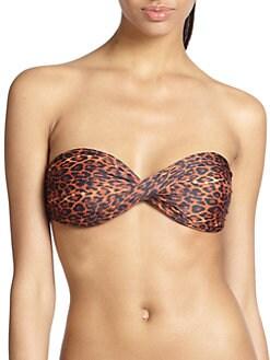 Agua de Coco by liana thomaz - Strelizia Leopard-Print Bandeau Bikini Top <br>