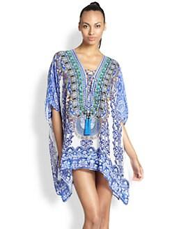 Camilla - Silk Chiffon Lace-Up Short Caftan <br>