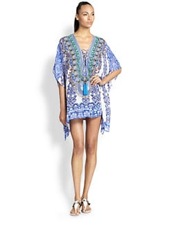 Camilla - Silk Chiffon Lace-Up Short Caftan <br>