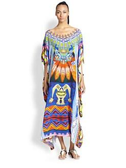 Camilla - Tribal-Print Silk Crepe Caftan <br>