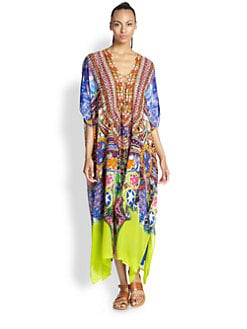 Camilla - Lace-Up Silk Chiffon Caftan <br>