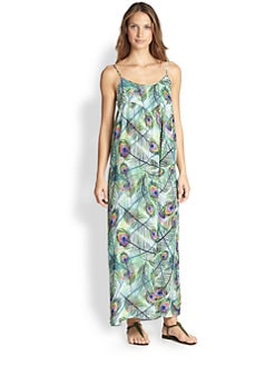 Cia.Maritima Swim - Peacock-Print Maxi Dress