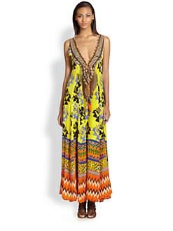 Camilla - Tribal Print Silk Maxi Dress