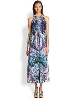Camilla - Mixed Print Silk Drawstring Dress