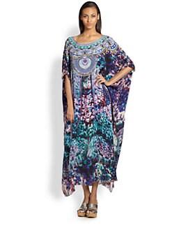 Camilla - Painterly Print Silk Caftan