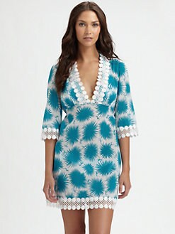 Milly - Lattice-Trim Printed Coverup