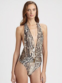 Cia.Maritima Swim - One-Piece Plunge Python Swimsuit
