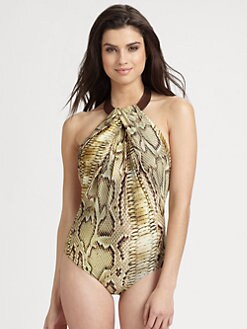 Lenny Niemeyer Swim - One-Piece Leather-Collar Swimsuit