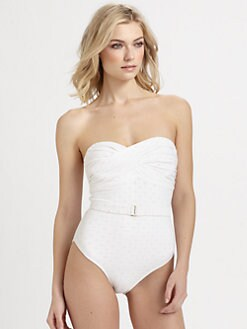 Shoshanna - One-Piece Eyelet Bandeau Swimsuit