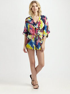 Milly - Feather Print Hilo Bay Coverup