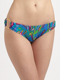 Milly - Sea Blossom-Print Bikini Bottom
