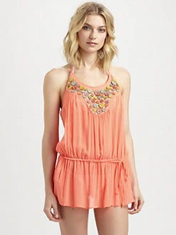 Milly - Embellished/Silk Chiffon Halter Dress
