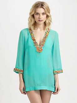 Milly - Beaded Silk Chiffon Catalina Tunic