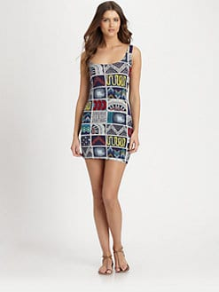 Mara Hoffman - Quilts Lattice-Back Mini Dress