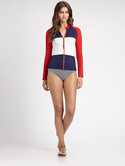 Pret-A-Surf - Colorblocked Zip-Front Rashguard Top