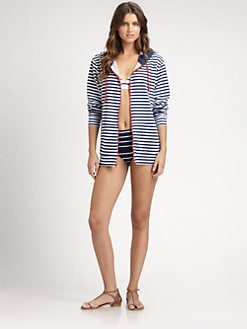 Pret-A-Surf - Cotton Striped Zip-Front Hoodie