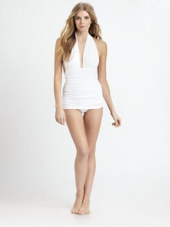 Norma Kamali - One-Piece Deep-V Halter Swimsuit