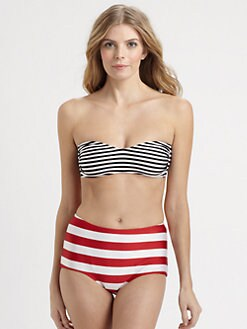 Norma Kamali - Striped Bandeau Bikini Top