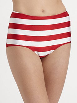 Norma Kamali - Striped High-Waisted Bikini Bottom