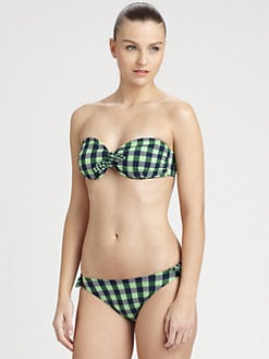 Shoshanna - Gingham Bow Bandeau Top