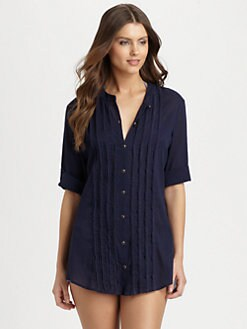 Shoshanna - Crinkle Cotton Button-Down Shirt