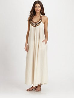 Shoshanna - Embellished-Neckline Maxi Dress