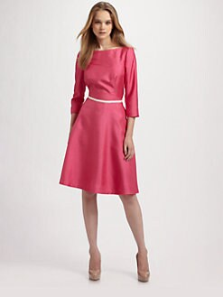 Lotusgrace - Shantung Three-Quarter Sleeve Dress
