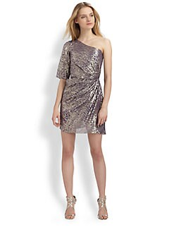 Shoshanna - Metallic Silk Dress