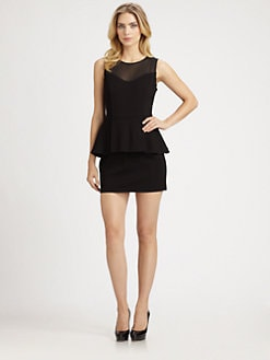 Ali Ro - Mesh Detail Peplum Dress