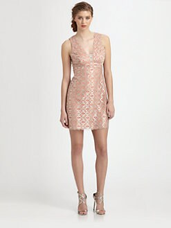 Ali Ro - Metallic-Coated Circle-Patterned Dress