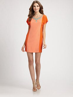 Trina Turk - Beaded Silk Colorblock Dress