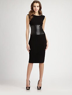 B44 DRESSED - Faux Leather-Waist Stretch Jersey Dress