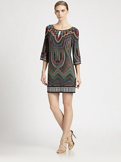 Laundry by Shelli Segal - Bell-Sleeve Printed Dress