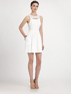 Ali Ro - Eyelet Panel Silk Dress