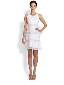 Laundry by Shelli Segal - Laser-Cut Linen Dress