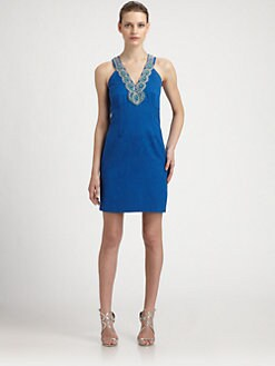 Laundry by Shelli Segal - Beaded-Neck Jacquard Dress