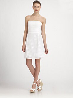 Laundry by Shelli Segal - Strapless Cotton Eyelet Dress