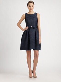 Lotusgrace - Belted Denim Dress