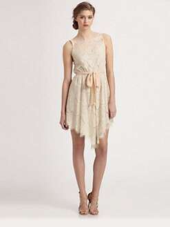 Ali Ro - Ribbon-Sash Lace Dress