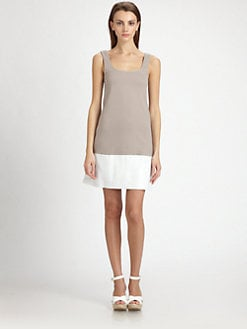 B44 DRESSED - Leather-Skirt Colorblock Knit Dress