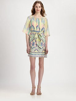 Shoshanna - Estee Belted Silk Chiffon Printed Dress