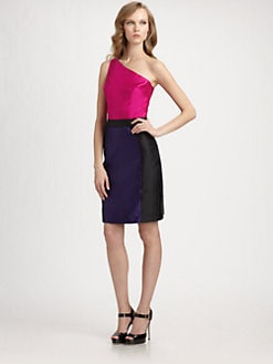 Lotusgrace - Asymmetrical Colorblock Dress
