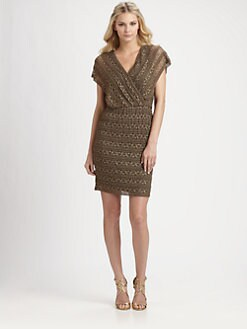 Ali Ro - Embroidered-Lace Knit Dress